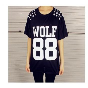 Women WOLF 88 Leters EXO Tshirt Printed Harajuku Girl Shirt Short Sleeve