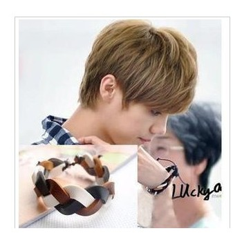 Exo-m luhan knitted twisted genuine leather strap