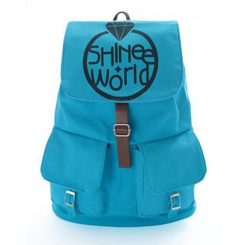 SHINee Canvas backpack leisure style Blue Schoolbag bag