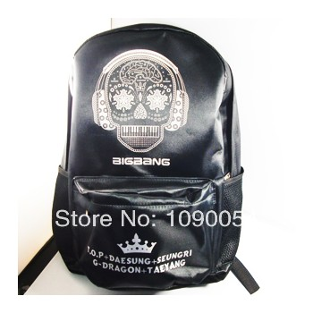 bigbang big bang GD G D G-dragon Gdragon black skeleton backpack school bag