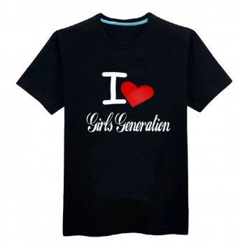 SNSD Girls' Generation summer O-neck t-shirt 100% cotton with red loving heart