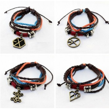 EXO Logo Leather Bracelet
