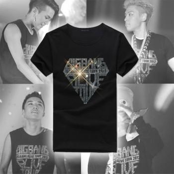 Bigbang Alive Tour 2012 Concert Black Short Sleeve Rhinestones rhinestone T-shirt