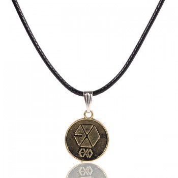 EXO Antique Bronze logo pendants necklace Leather Cord alloy necklaces