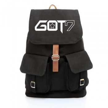 Got 7 GOT7 black CANVAS SCHOOL BAG BACKPACK knapsack
