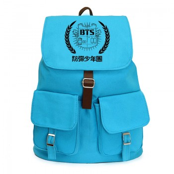 bts Bangtan Boys blue CANVAS SCHOOL BAG BACKPACK knapsack