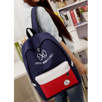 J-6 New 2014 Female canvas backpack exo middle school students bag casual travel shoulders bag 8 patchwork colors