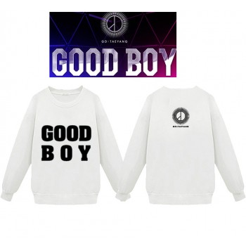 KPOP BIGBANG GD TaeYang GOOD BOY Letters Black And White Cotton Pullover Sweater Without Hat