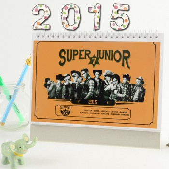 Super Junior SJ 2015 Table Calendar With Exquisite Pictures 20.5*14cm Horizontal Version