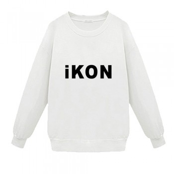 IKON Popular White And Black Two Colors Cotton Fans Supporting Sweater Pullover