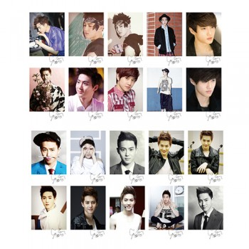 EXO SUHO GROWL LOMO Card 20 Photos With 1 Iron Box And 10 Heart Shape Clips