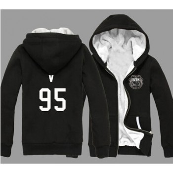 KPOP 2015 BTS Bangtan Boys Jung Kook J-hope JIN Jimin V Suga Cotton Thick Hoody Hoodie Outerwears With Velvet