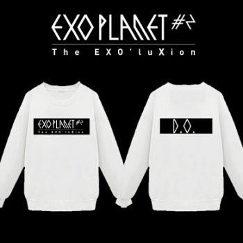 KPOP 2015 New EXO World Tour 2 Member Personal O-Neck Long-Sleeve Sweatshirt White And Black
